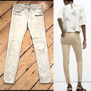 Zara Woman patched zipper skinny khaki jeans 8